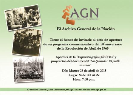 Invitación de la exposición de abril