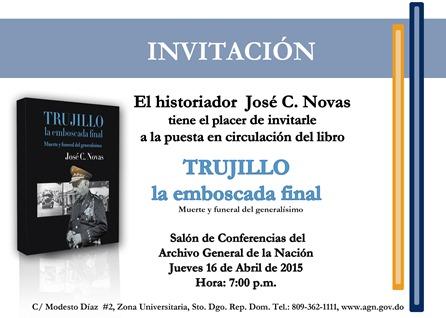 Invitación de la puesta en circulacion del libro de Trujillo la emboscada