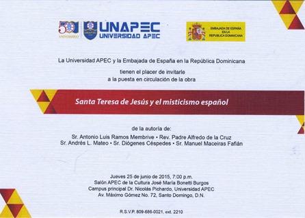 Invitación puesta en circulación libro Santa Teresa de Jesús y el misticismo español