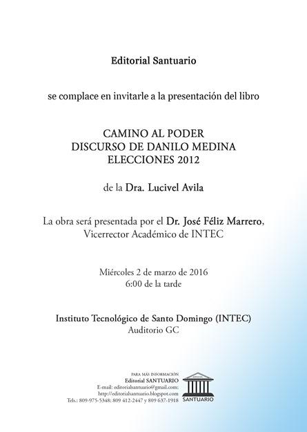Invitación CAMINO AL PODER reverso