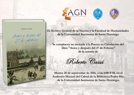 Invitacion de la puesta en circulacion libro Robeto Cassá